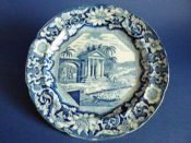 Superb Pearlware 'Palladian Porch' Dinner Plate c1820
